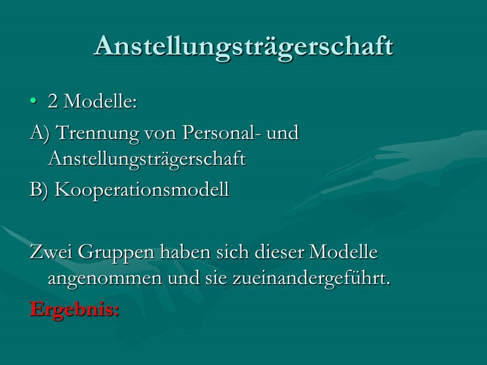 Anstellungsträgerschaft 2 Modelle:2 Modelle: A) Trennung von Personal- und Anstellungsträgerschaft B) Kooperationsmodell Zwei Gruppen haben sich dieser Modelle angenommen und sie zueinandergeführt.