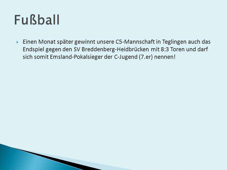 Einen Monat später gewinnt unsere C5-Mannschaft in Teglingen auch das Endspiel gegen den SV Breddenberg-Heidbrücken mit 8:3 Toren und darf sich somit