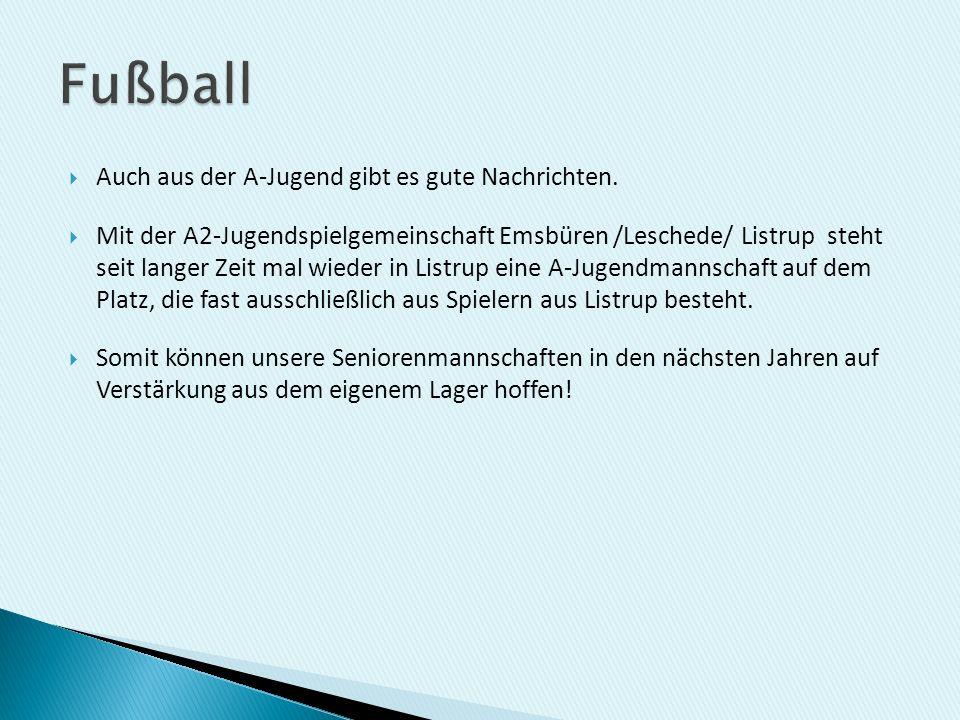Auch aus der A-Jugend gibt es gute Nachrichten. Mit der A2-Jugendspielgemeinschaft Emsbüren /Leschede/ Listrup steht seit langer Zeit mal wieder in Li
