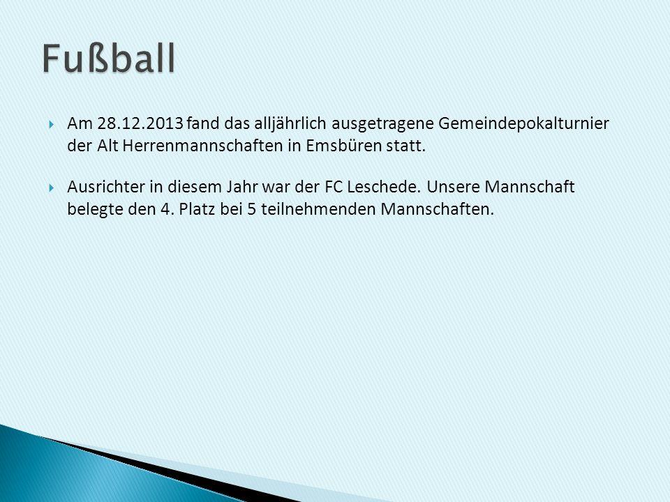 Am 28.12.2013 fand das alljährlich ausgetragene Gemeindepokalturnier der Alt Herrenmannschaften in Emsbüren statt. Ausrichter in diesem Jahr war der F