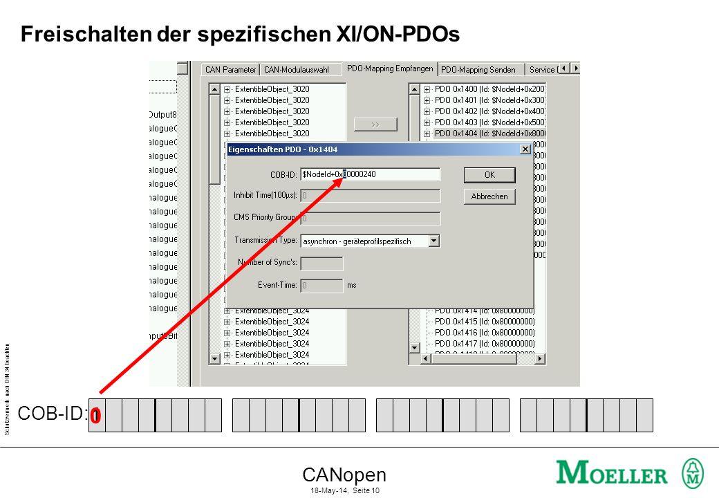 Schutzvermerk nach DIN 34 beachten CANopen 18-May-14, Seite 10 Freischalten der spezifischen XI/ON-PDOs 10 COB-ID: