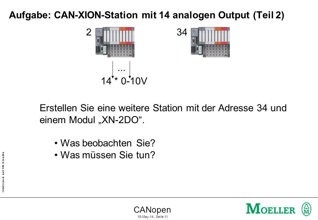 Schutzvermerk nach DIN 34 beachten CANopen 18-May-14, Seite 11 Aufgabe: CAN-XION-Station mit 14 analogen Output (Teil 2) 14 * 0-10V... 234 Erstellen S
