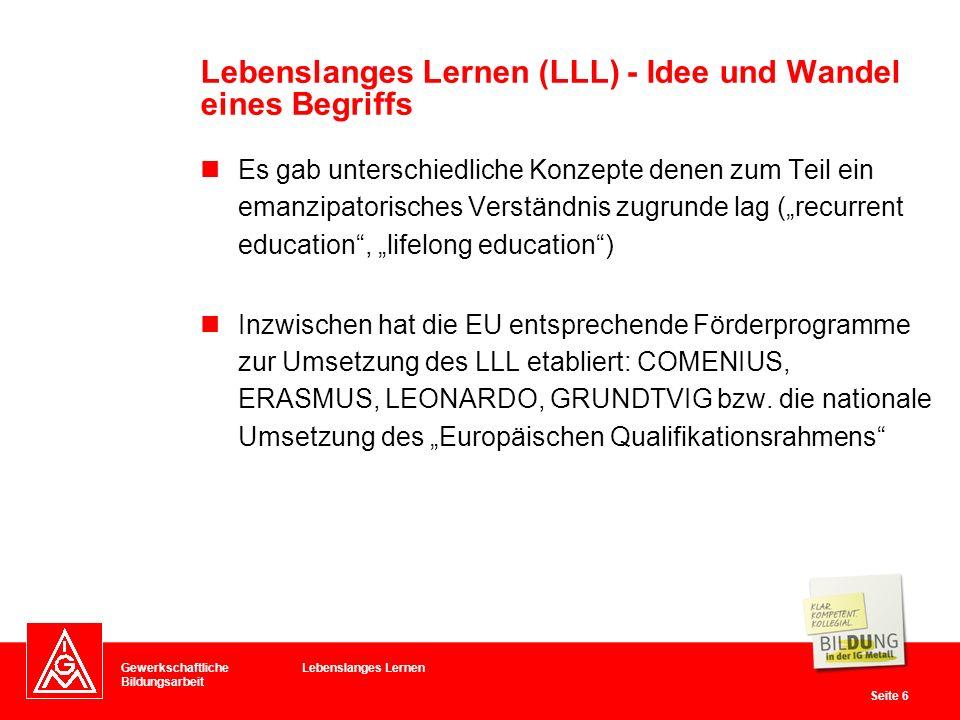 Gewerkschaftliche Bildungsarbeit Seite 6 Es gab unterschiedliche Konzepte denen zum Teil ein emanzipatorisches Verständnis zugrunde lag (recurrent edu