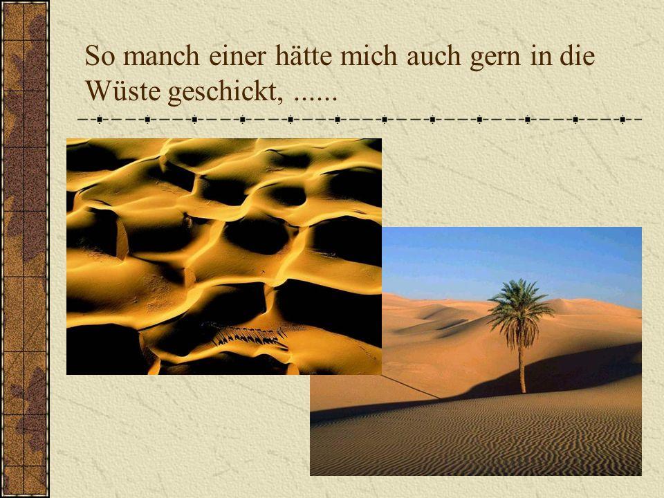 So manch einer hätte mich auch gern in die Wüste geschickt,......