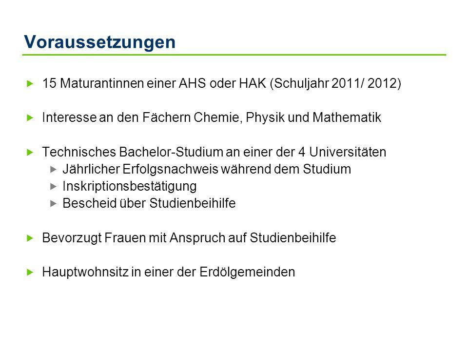 Voraussetzungen 15 Maturantinnen einer AHS oder HAK (Schuljahr 2011/ 2012) Interesse an den Fächern Chemie, Physik und Mathematik Technisches Bachelor