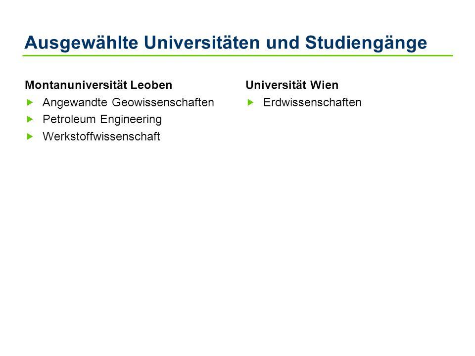 Ausgewählte Universitäten und Studiengänge Montanuniversität Leoben Angewandte Geowissenschaften Petroleum Engineering Werkstoffwissenschaft Universit