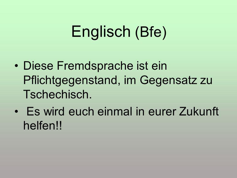 Englisch (Bfe) Diese Fremdsprache ist ein Pflichtgegenstand, im Gegensatz zu Tschechisch. Es wird euch einmal in eurer Zukunft helfen!!