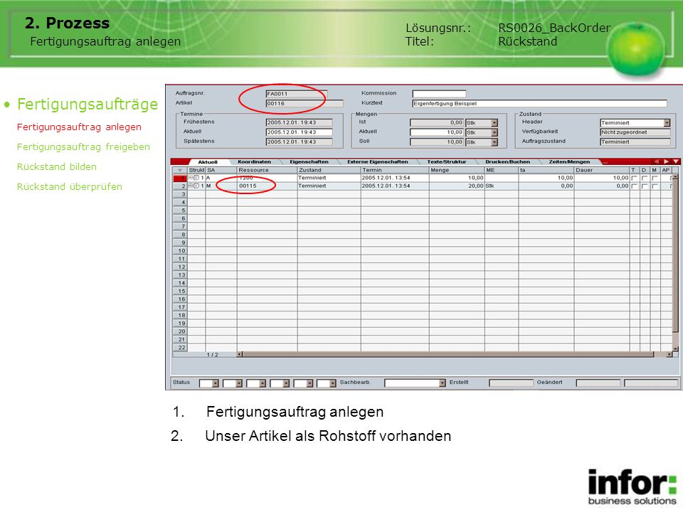 1.Fertigungsauftrag anlegen 2. Prozess Fertigungsaufträge Fertigungsauftrag anlegen Fertigungsauftrag freigeben Rückstand bilden Rückstand überprüfen