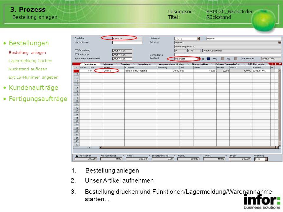 1.Bestellung anlegen 3. Prozess Bestellungen Bestellung anlegen Lagermeldung buchen Rückstand auflösen Ext.LS-Nummer angeben Kundenaufträge Fertigungs