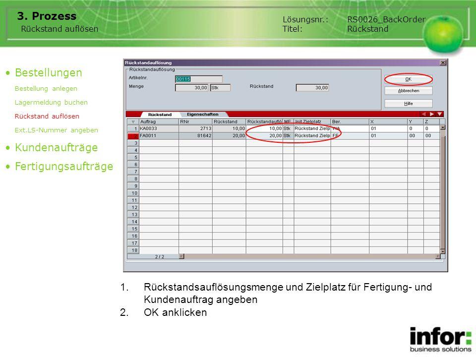 1.Rückstandsauflösungsmenge und Zielplatz für Fertigung- und Kundenauftrag angeben 3. Prozess Bestellungen Bestellung anlegen Lagermeldung buchen Rück