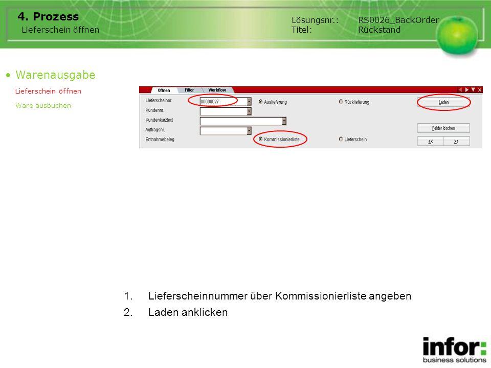 1.Lieferscheinnummer über Kommissionierliste angeben 4. Prozess Warenausgabe Lieferschein öffnen Ware ausbuchen Lieferschein öffnen Lösungsnr.:RS0026_
