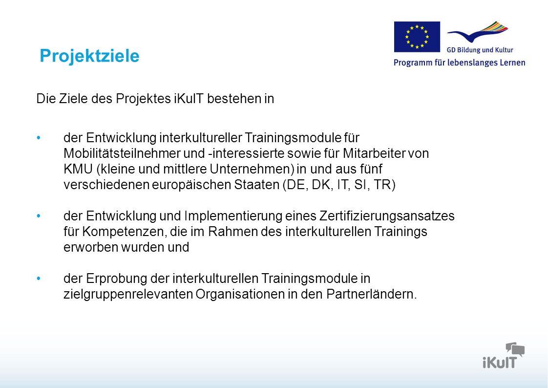 Startseite Projektziele Die Ziele des Projektes iKulT bestehen in der Entwicklung interkultureller Trainingsmodule für Mobilitätsteilnehmer und -inter
