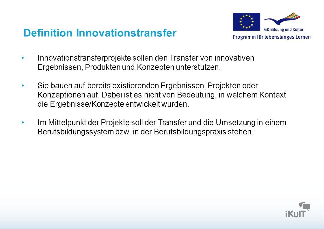 Definition Innovationstransfer Innovationstransferprojekte sollen den Transfer von innovativen Ergebnissen, Produkten und Konzepten unterstützen. Sie