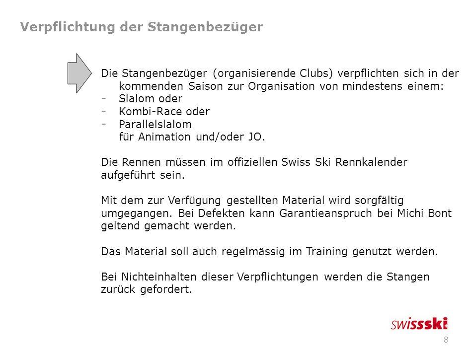 8 Verpflichtung der Stangenbezüger Die Stangenbezüger (organisierende Clubs) verpflichten sich in der kommenden Saison zur Organisation von mindestens einem: - Slalom oder - Kombi-Race oder - Parallelslalom für Animation und/oder JO.