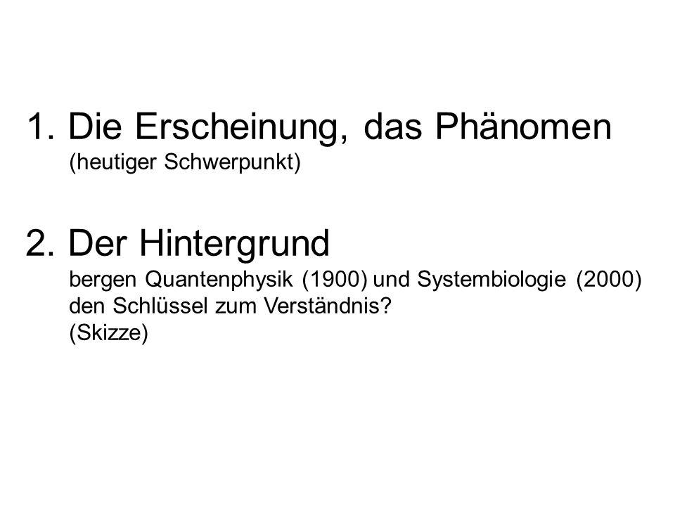 1. Die Erscheinung, das Phänomen (heutiger Schwerpunkt) 2. Der Hintergrund bergen Quantenphysik (1900) und Systembiologie (2000) den Schlüssel zum Ver