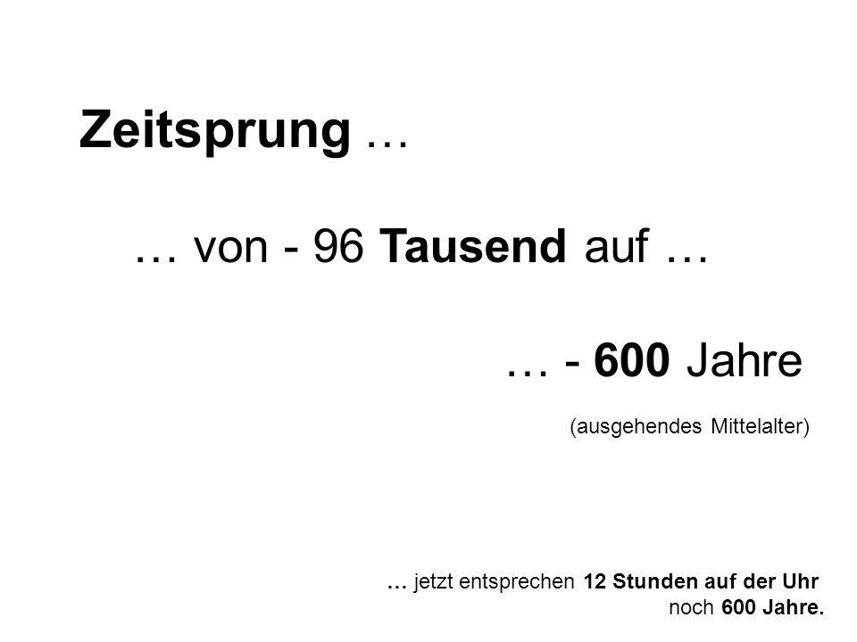 … jetzt entsprechen 12 Stunden auf der Uhr noch 600 Jahre. Zeitsprung … … von - 96 Tausend auf … … - 600 Jahre (ausgehendes Mittelalter)