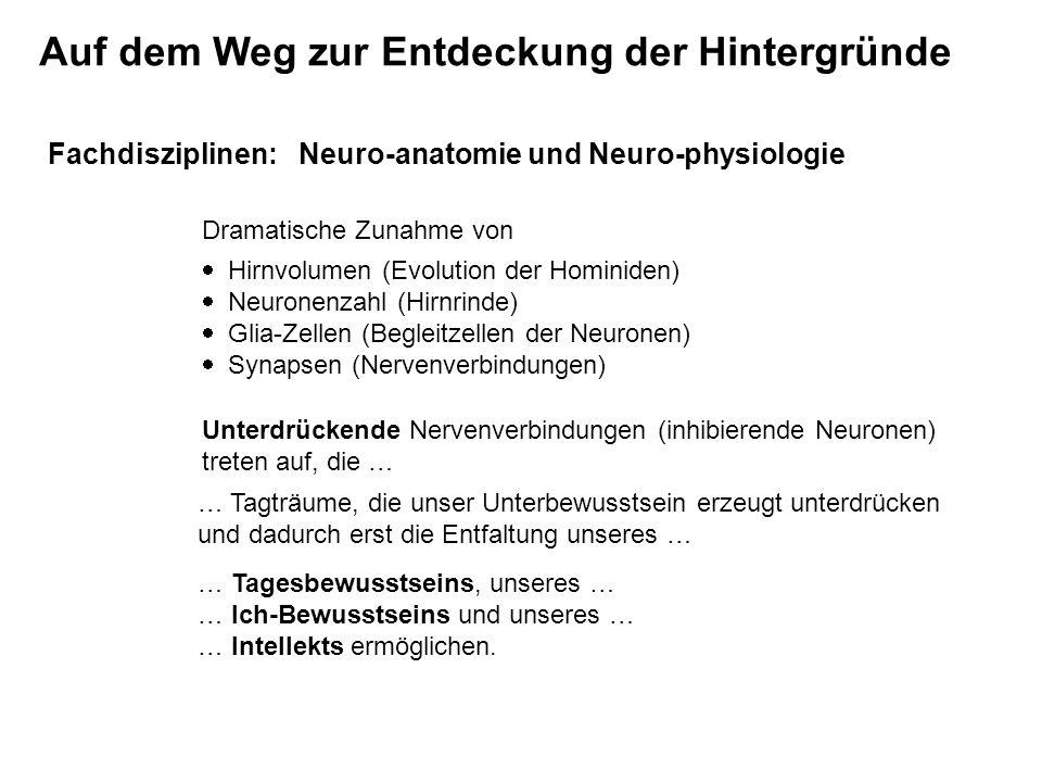 Fachdisziplinen: Neuro-anatomie und Neuro-physiologie Dramatische Zunahme von Hirnvolumen (Evolution der Hominiden) Neuronenzahl (Hirnrinde) Glia-Zell