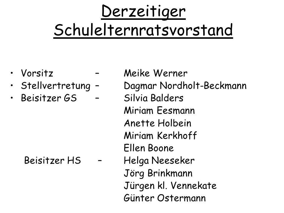 Derzeitiger Schulelternratsvorstand Vorsitz – Meike Werner Stellvertretung – Dagmar Nordholt-Beckmann Beisitzer GS– Silvia Balders Miriam Eesmann Anet