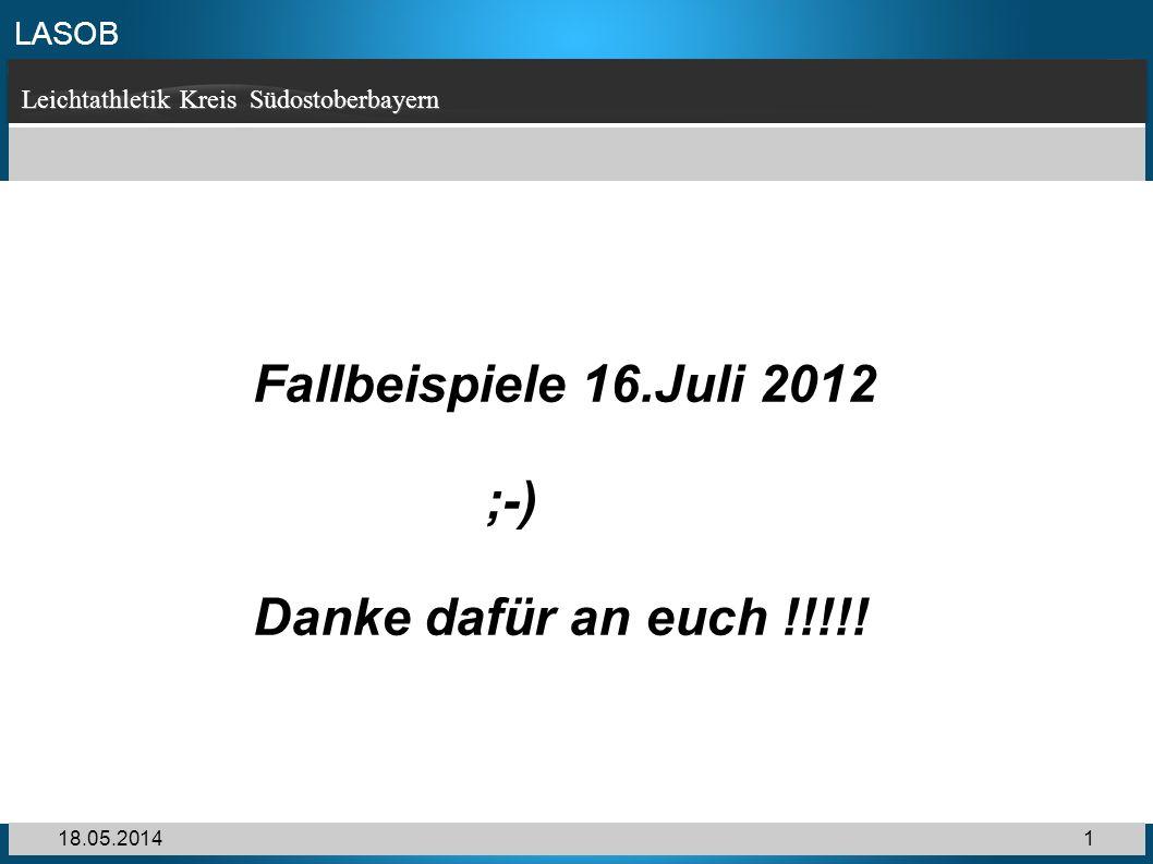 LASOB Leichtathletik Kreis Südostoberbayern 18.05.20141 Fallbeispiele 16.Juli 2012 ;-) Danke dafür an euch !!!!!