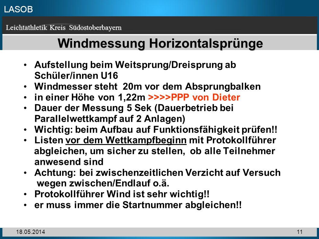 LASOB Leichtathletik Kreis Südostoberbayern 18.05.201411 Windmessung Horizontalsprünge Aufstellung beim Weitsprung/Dreisprung ab Schüler/innen U16 Win