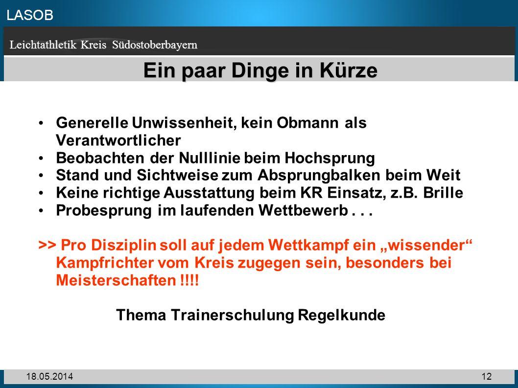 LASOB Leichtathletik Kreis Südostoberbayern 18.05.201412 Ein paar Dinge in Kürze Generelle Unwissenheit, kein Obmann als Verantwortlicher Beobachten d
