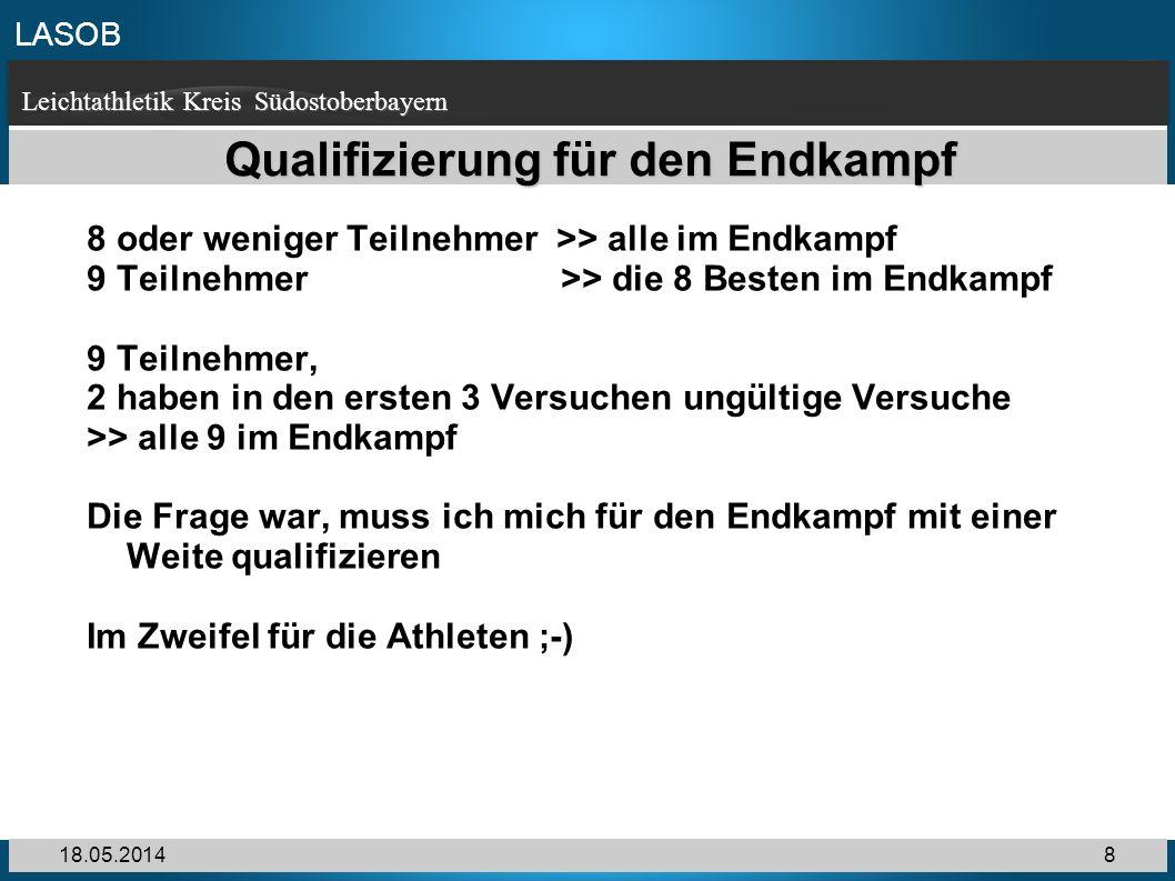 LASOB Leichtathletik Kreis Südostoberbayern 18.05.20148 Qualifizierung für den Endkampf 8 oder weniger Teilnehmer >> alle im Endkampf 9 Teilnehmer >>