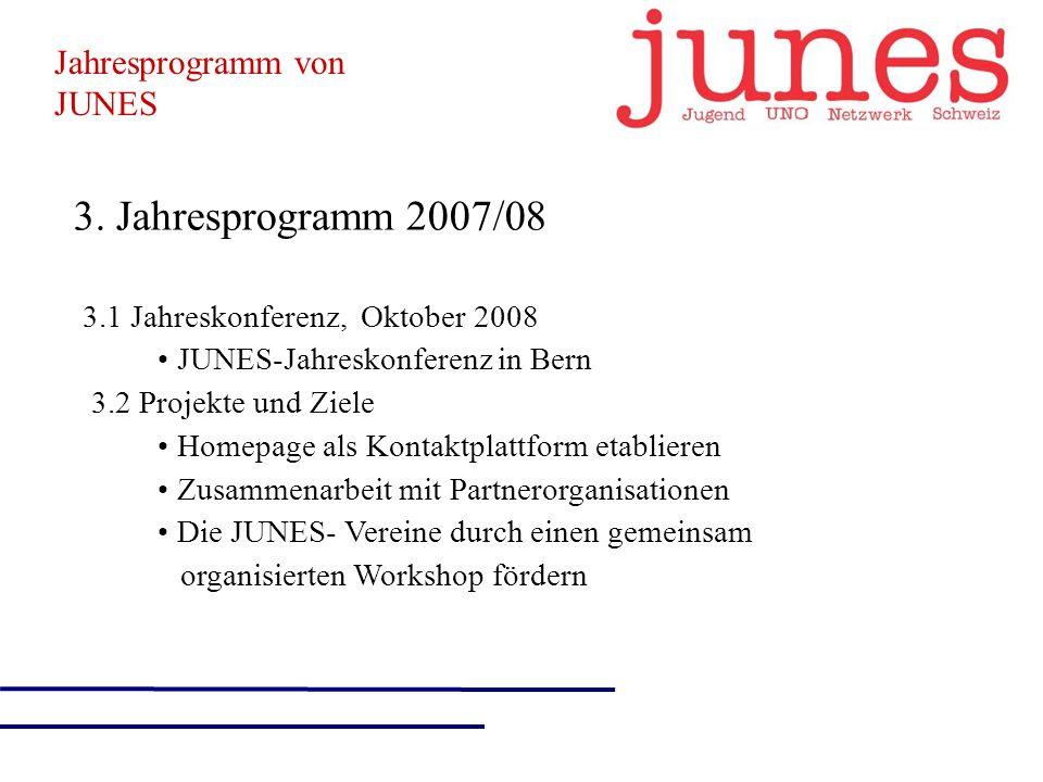 3. Jahresprogramm 2007/08 3.1 Jahreskonferenz, Oktober 2008 JUNES-Jahreskonferenz in Bern 3.2 Projekte und Ziele Homepage als Kontaktplattform etablie