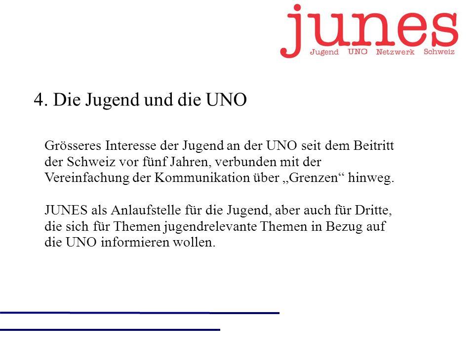 4. Die Jugend und die UNO Grösseres Interesse der Jugend an der UNO seit dem Beitritt der Schweiz vor fünf Jahren, verbunden mit der Vereinfachung der