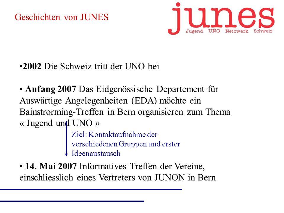 2002 Die Schweiz tritt der UNO bei Anfang 2007 Das Eidgenössische Departement für Auswärtige Angelegenheiten (EDA) möchte ein Bainstrorming-Treffen in Bern organisieren zum Thema « Jugend und UNO » Ziel: Kontaktaufnahme der verschiedenen Gruppen und erster Ideenaustausch 14.