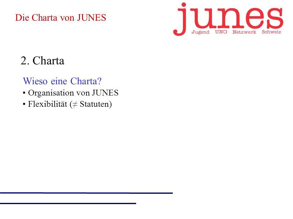 2. Charta Wieso eine Charta Organisation von JUNES Flexibilität ( Statuten) Die Charta von JUNES