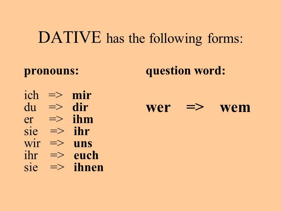 DATIVE has the following forms: pronouns: ich => mir du => dir er => ihm sie => ihr wir => uns ihr => euch sie => ihnen question word: wer => wem