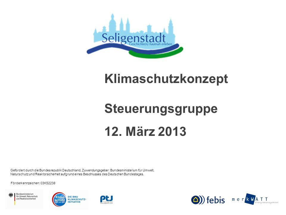 Klimaschutzkonzept Seligenstadt Steuerungsgruppe 12.03.2013 Was wir heute besprechen wollen: Vorstellung des Maßnahmenkataloges Politische Empfehlungen Weitere Vorgehensweise