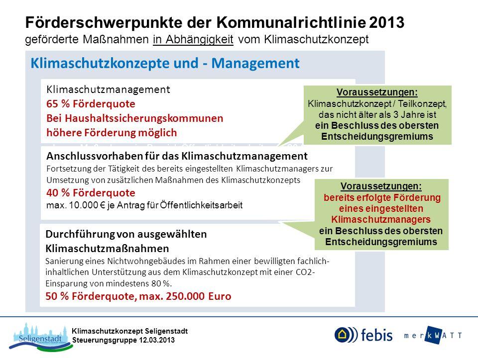 Klimaschutzkonzept Seligenstadt Steuerungsgruppe 12.03.2013 Förderschwerpunkte der Kommunalrichtlinie 2013 geförderte Maßnahmen in Abhängigkeit vom Kl