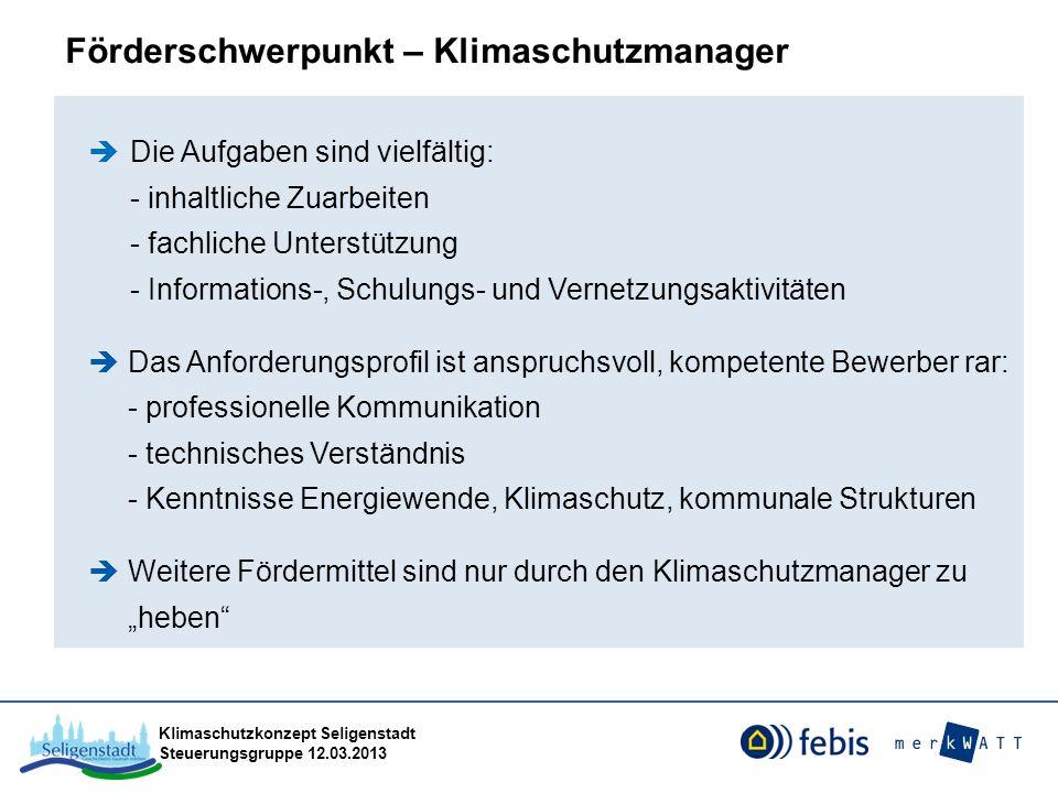 Klimaschutzkonzept Seligenstadt Steuerungsgruppe 12.03.2013 Die Aufgaben sind vielfältig: - inhaltliche Zuarbeiten - fachliche Unterstützung - Informa