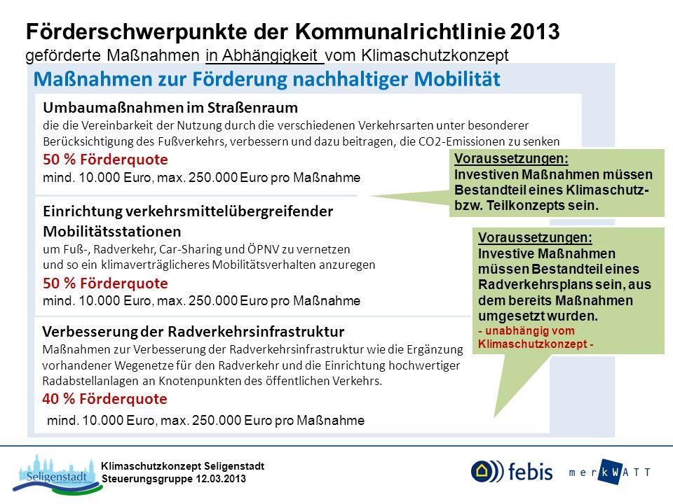 Klimaschutzkonzept Seligenstadt Steuerungsgruppe 12.03.2013 Maßnahmen zur Förderung nachhaltiger Mobilität Umbaumaßnahmen im Straßenraum die die Verei