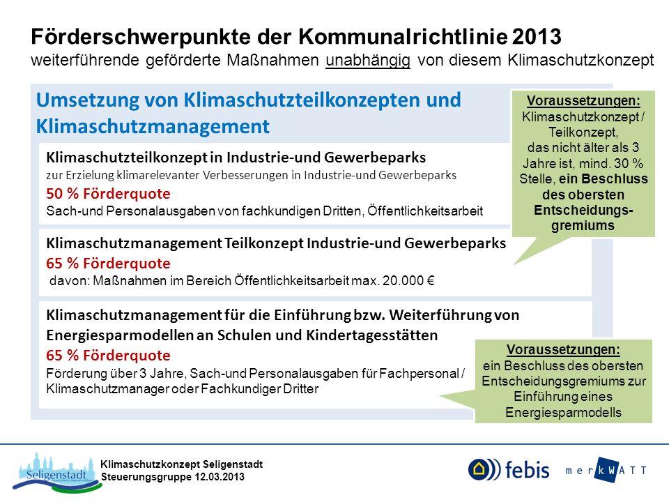 Klimaschutzkonzept Seligenstadt Steuerungsgruppe 12.03.2013 Umsetzung von Klimaschutzteilkonzepten und Klimaschutzmanagement Förderschwerpunkte der Ko