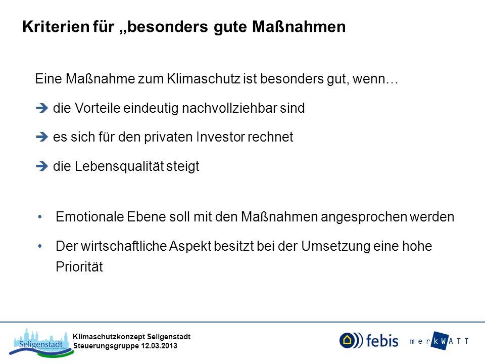 Klimaschutzkonzept Seligenstadt Steuerungsgruppe 12.03.2013 Eine Maßnahme zum Klimaschutz ist besonders gut, wenn… die Vorteile eindeutig nachvollzieh
