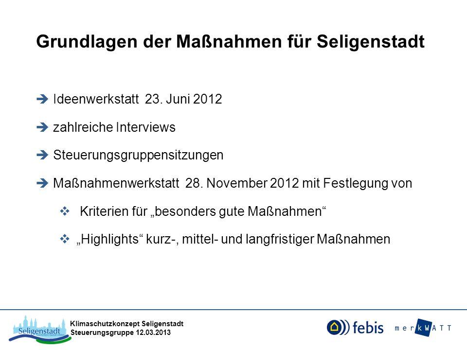 Klimaschutzkonzept Seligenstadt Steuerungsgruppe 12.03.2013 Grundlagen der Maßnahmen für Seligenstadt Ideenwerkstatt 23. Juni 2012 zahlreiche Intervie