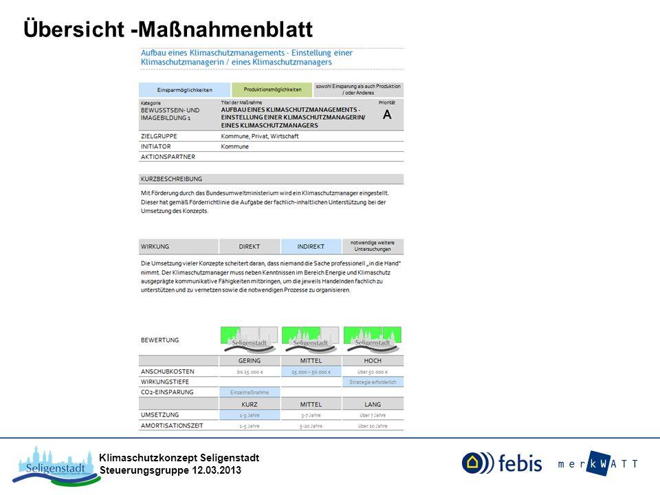 Klimaschutzkonzept Seligenstadt Steuerungsgruppe 12.03.2013 Übersicht -Maßnahmenblatt