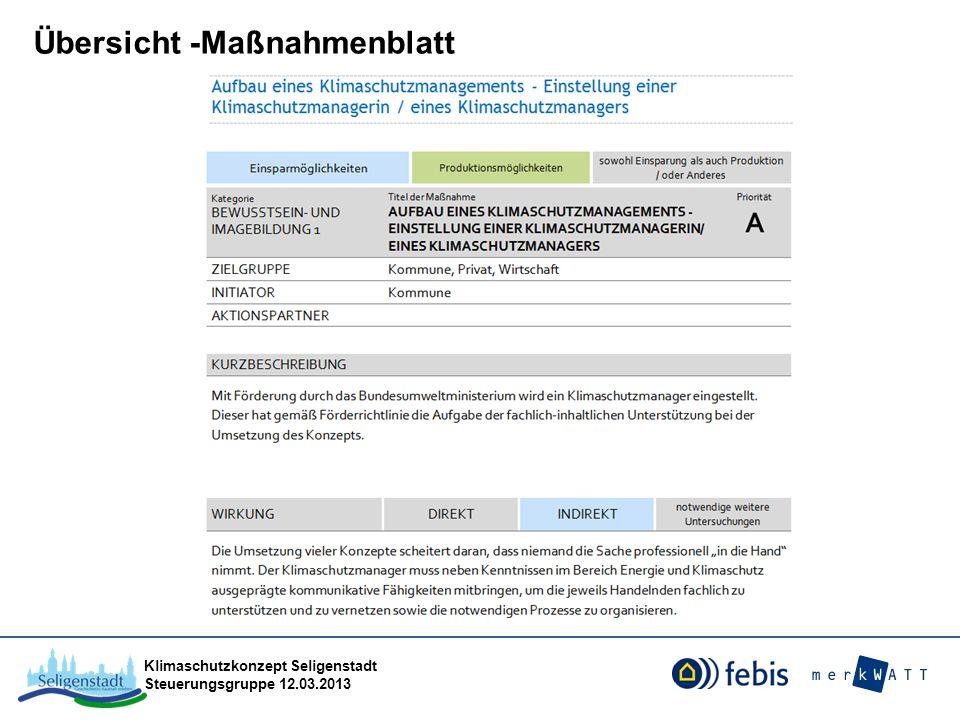 Klimaschutzkonzept Seligenstadt Steuerungsgruppe 12.03.2013 Die Favoriten