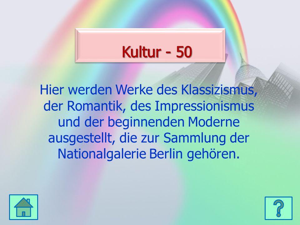 Hier werden Werke des Klassizismus, der Romantik, des Impressionismus und der beginnenden Moderne ausgestellt, die zur Sammlung der Nationalgalerie Berlin gehören.