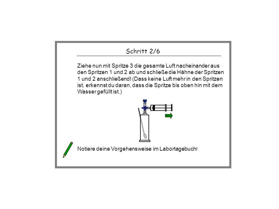 Schritt 2/6 Ziehe nun mit Spritze 3 die gesamte Luft nacheinander aus den Spritzen 1 und 2 ab und schließe die Hähne der Spritzen 1 und 2 anschließend