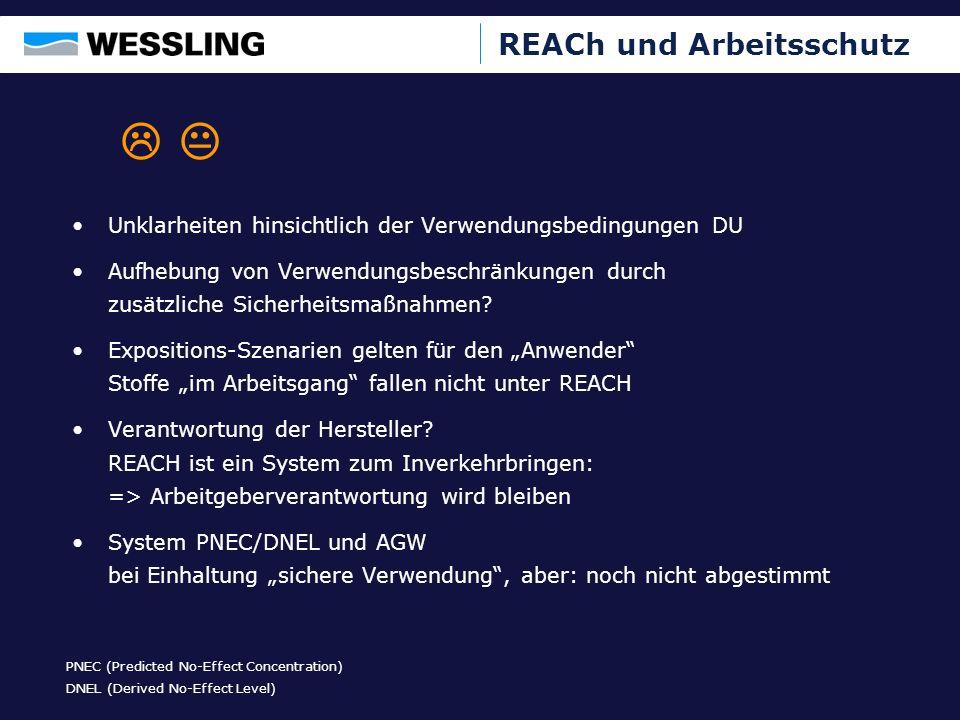 Beispiele Hersteller von Reinigungsmitteln Arbeitet die 11 Schritte ab Ergebnis Schritt 1 bis 5: –Herstellung keine –Zubereitungen 323 –Vermarktung von Zubereitungen 42 –Import von Zubereitungen außerhalb EU keine –Stoffe in Zubereitungen 214 –Gekaufte chemische Stoffe 236 Ergebnis Schritt 6: –Ein Stoff mit identischer CAS- Nummer wird von zwei Lieferanten mit unterschiedlicher Kennzeichnung geliefert (Xn R22, 38; C R34) Ergebnis Schritt 7: –4 Zubereitungen werden aus der Schweiz bezogen