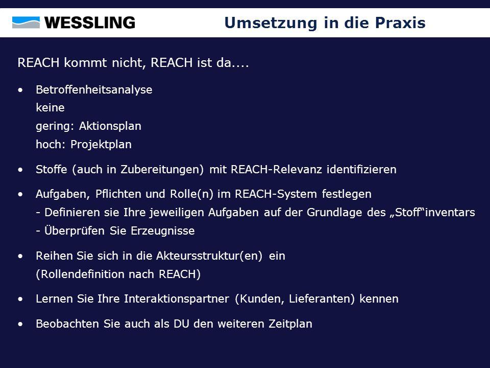 Umsetzung in die Praxis REACH kommt nicht, REACH ist da.... Betroffenheitsanalyse keine gering: Aktionsplan hoch: Projektplan Stoffe (auch in Zubereit