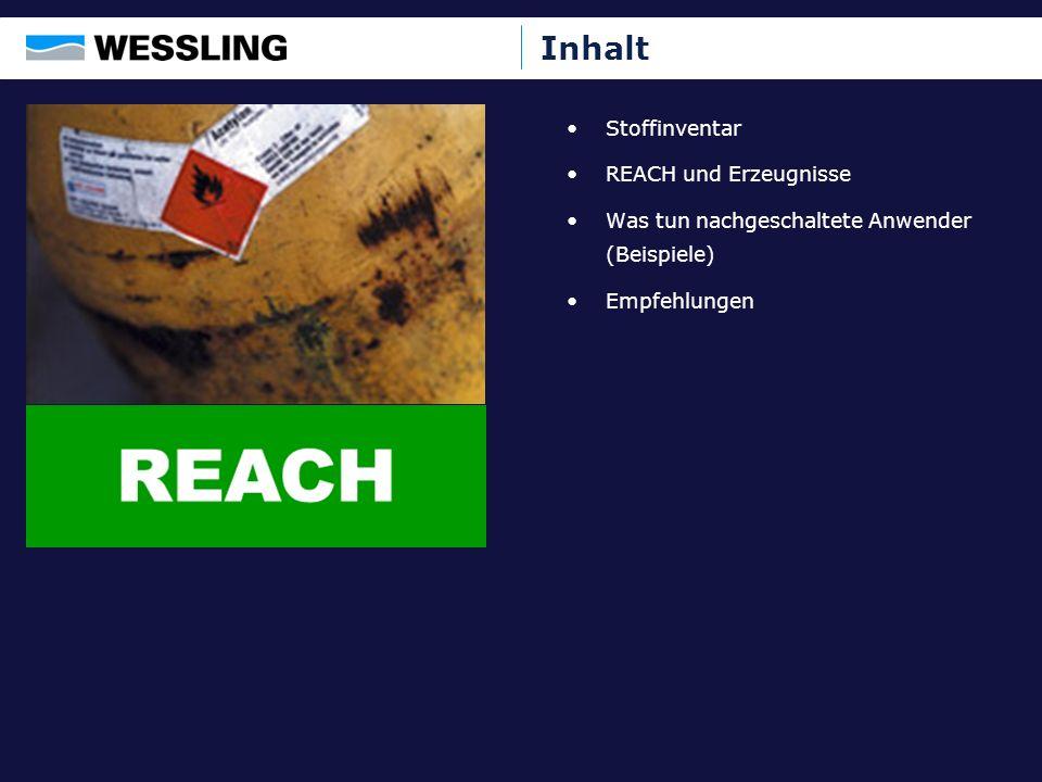 Inhalt Stoffinventar REACH und Erzeugnisse Was tun nachgeschaltete Anwender (Beispiele) Empfehlungen