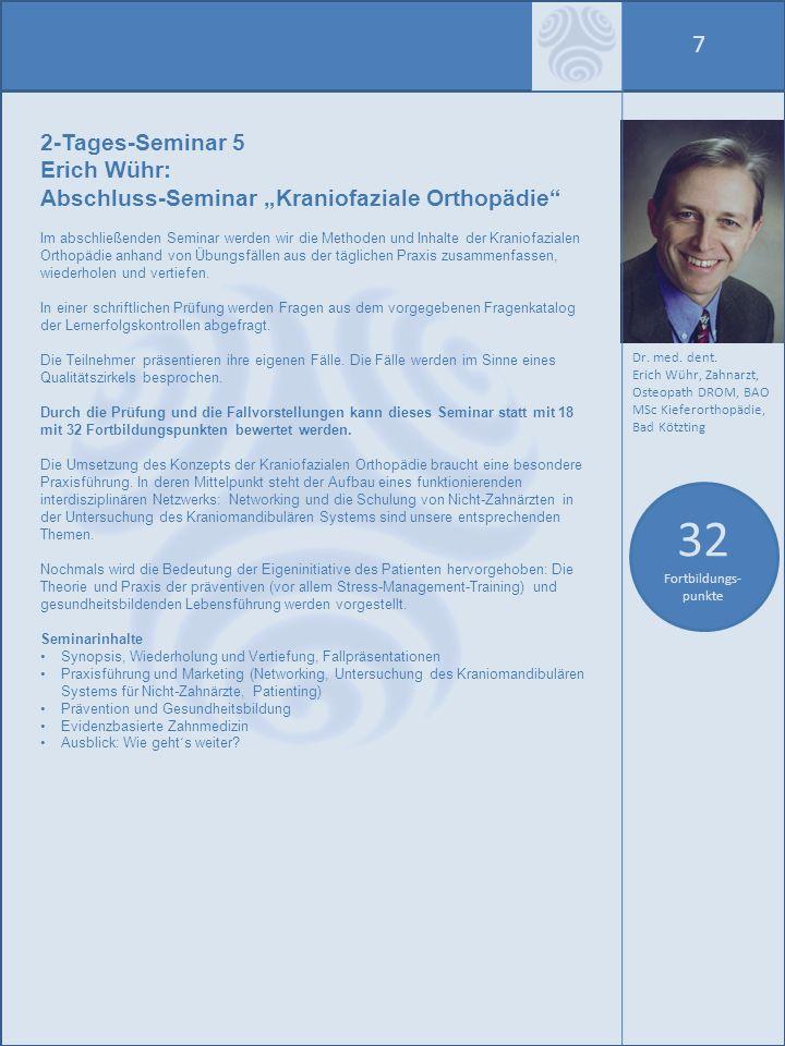 8 Seminarorte Das Curriculum Kraniofaziale Orthopädie finden im Jahr 2010 dreimal statt: in Bad Kötzting (in der Ersten Deutschen Klinik für Traditionelle Chinesische Medizin) Veranstalter: Verlag für Ganzheitliche Medizin Dr.