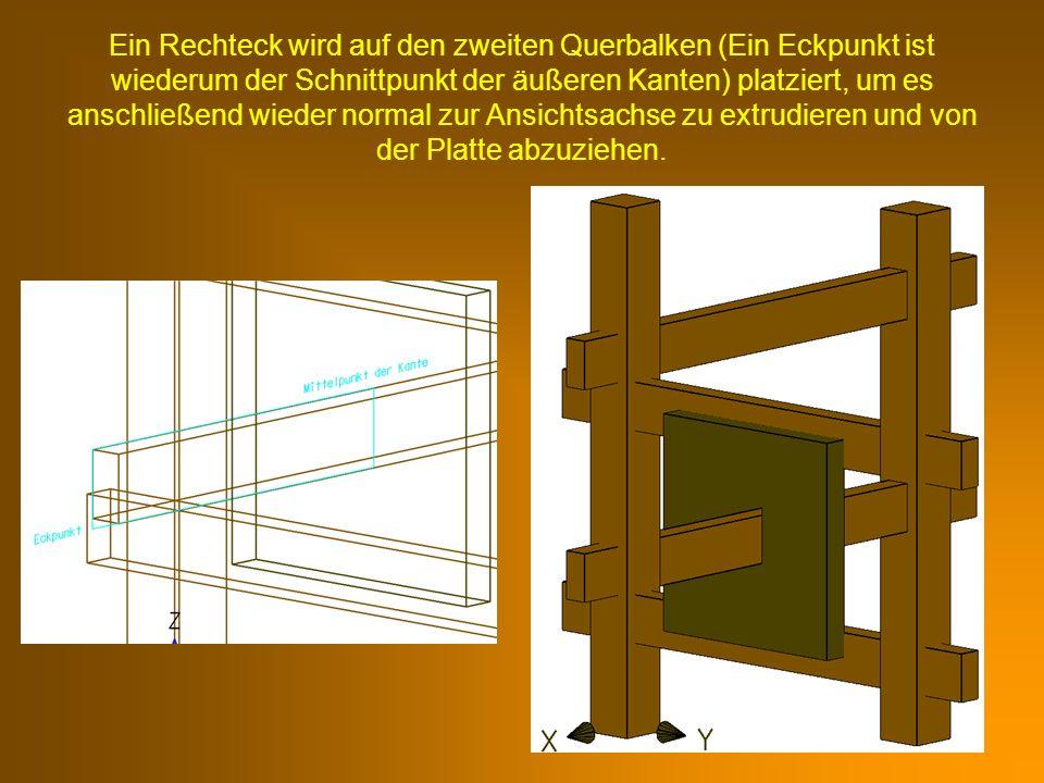 Ein Rechteck wird auf den zweiten Querbalken (Ein Eckpunkt ist wiederum der Schnittpunkt der äußeren Kanten) platziert, um es anschließend wieder norm