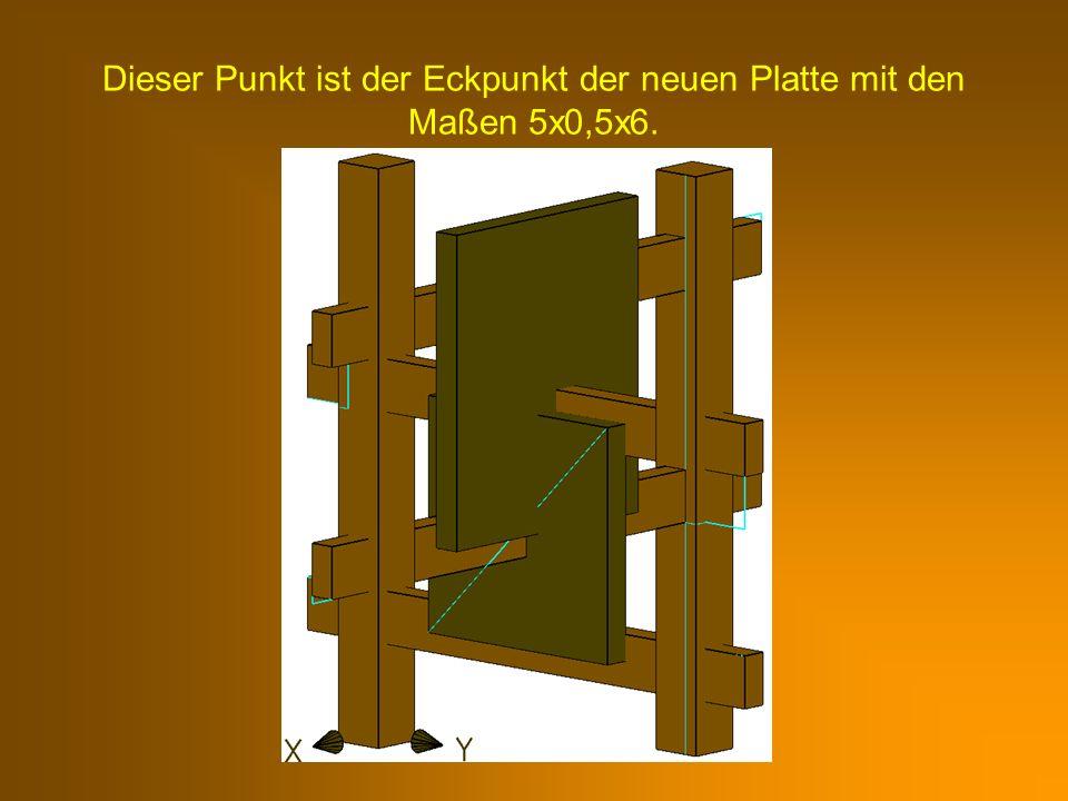 Dieser Punkt ist der Eckpunkt der neuen Platte mit den Maßen 5x0,5x6.