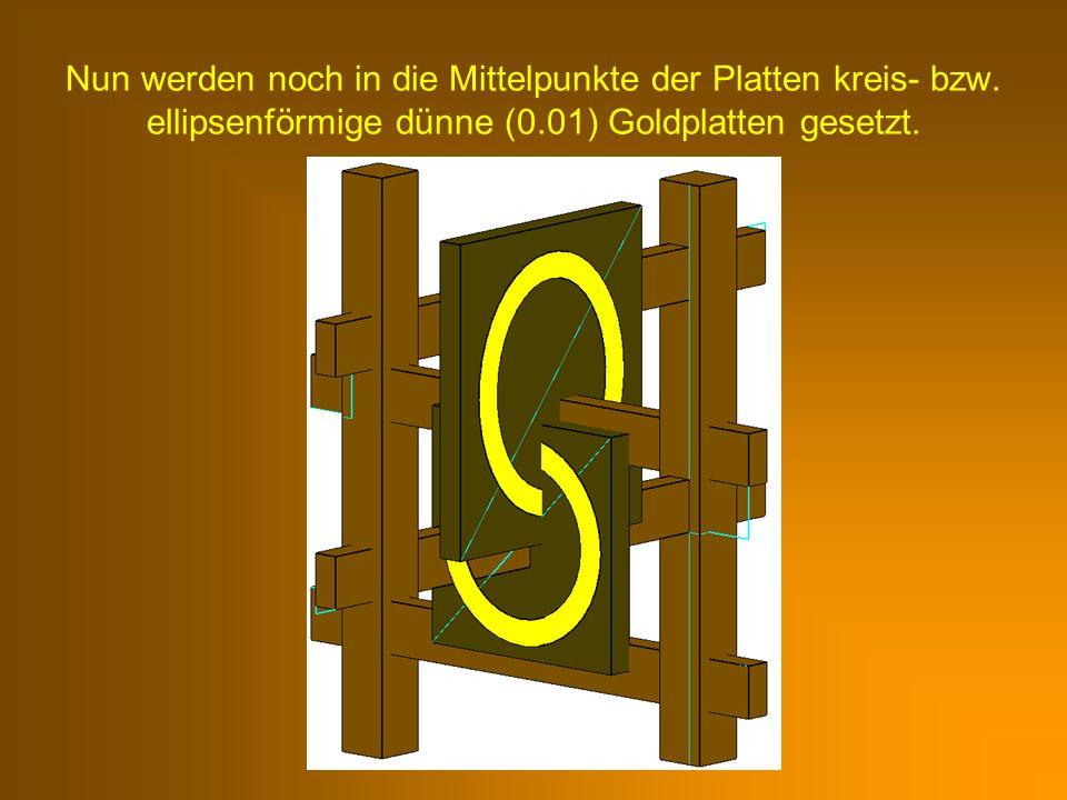 Nun werden noch in die Mittelpunkte der Platten kreis- bzw. ellipsenförmige dünne (0.01) Goldplatten gesetzt.