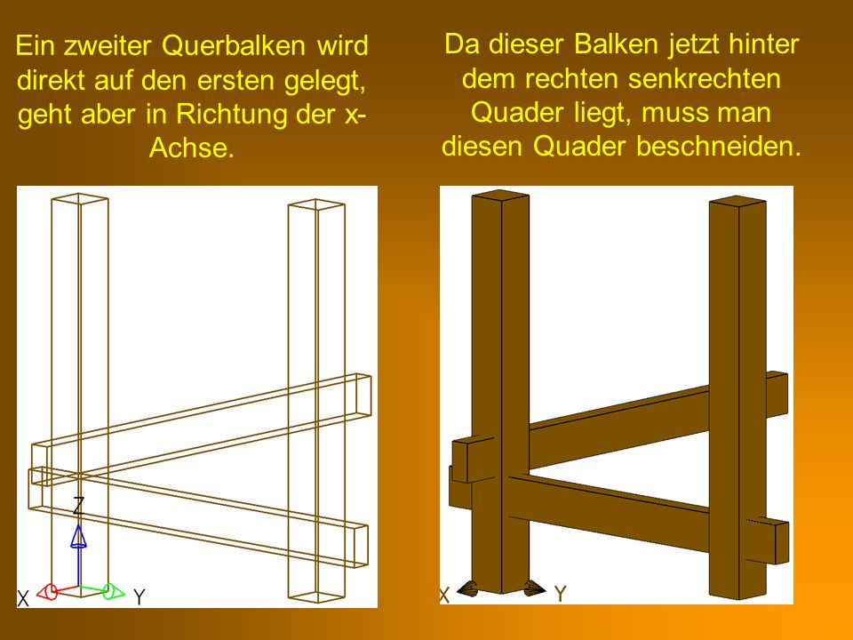 Ein zweiter Querbalken wird direkt auf den ersten gelegt, geht aber in Richtung der x- Achse. Da dieser Balken jetzt hinter dem rechten senkrechten Qu